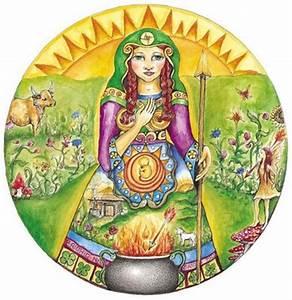 Pregnant Goddess Brighid at the Imbolc cauldron